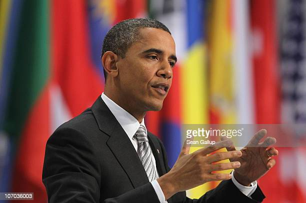 S President Barack Obama speaks to the media at the 2010 NATO Summit on November 20 2010 in Lisbon Portugal The twoday summit will address issues...