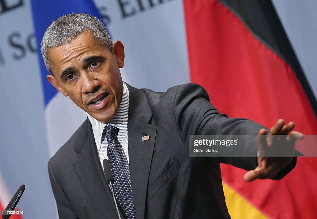 S. President Barack Obama speaks to the media at the conclusion of the summit of G7 nations at Schloss Elmau on June 8, 2015 near Garmisch-Partenkirchen, Germany. In the course of the two-day summit G7 leaders discussed global economic, health, climate and security issues.