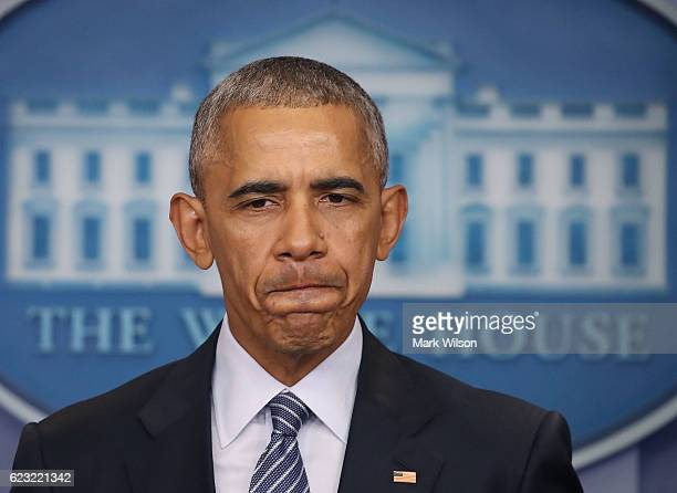 President Barack Obama speaks to the media during a news conference in the Brady Briefing Room at the White House November 14 2016 in Washington DC...