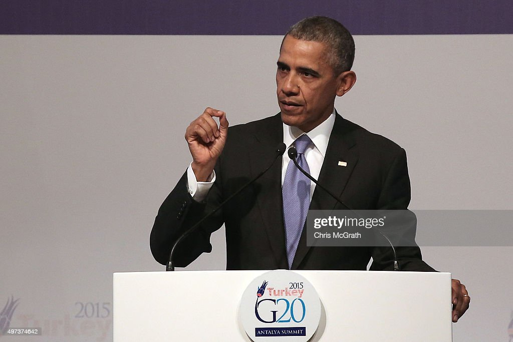 President Barack Obama speaks to the media during his closing press conference on day two of the G20 Turkey Leaders Summit on November 16, 2015 in Antalya, Turkey. World leaders will use the summit to discuss issues including, climate change, the global economy, the refugee crisis and terrorism. The two day summit takes place in the wake of the massive terrorist attack in Paris which killed more than 120 people.
