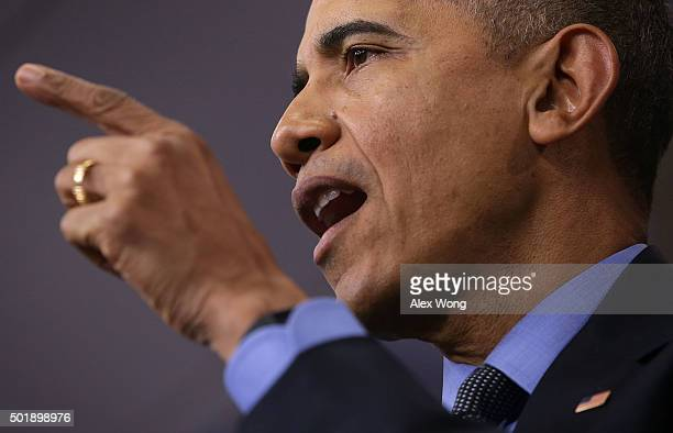 S President Barack Obama speaks to the media during his year end press conference in the Brady Briefing Room at the White House December 18 2015 in...