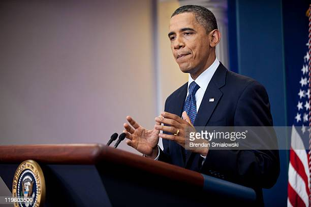 President Barack Obama speaks to the media in the briefing room of the White House July 22 2011 in Washington DC Obama spoke about the breakdown of...