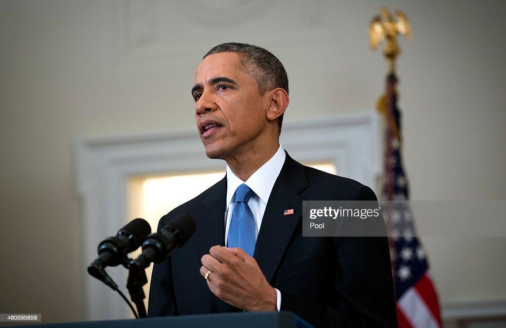 Obama Makes Statement On U.S.-Cuba Policy : News Photo