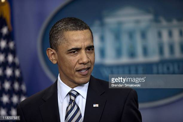President Barack Obama speaks to the press in the Briefing Room of the White House April 27 2011 in Washington DC US President Barack Obama released...
