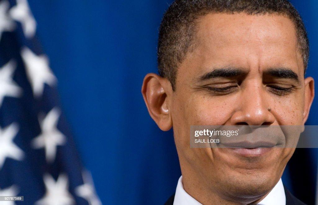 US President Barack Obama speaks to trib : News Photo