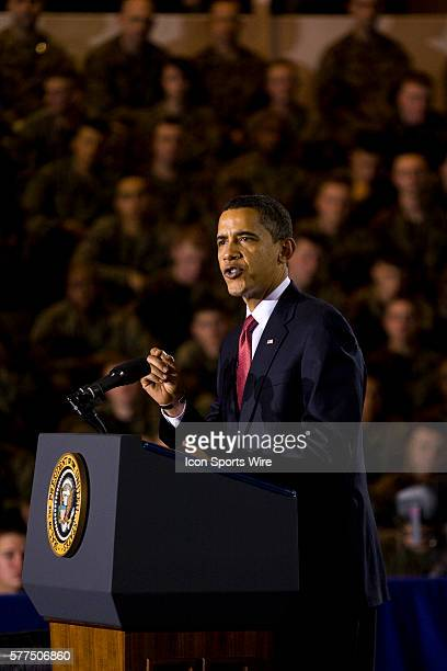 President Barack Obama speaks to troops at the Marines Corps base in Camp Lejeune, North Carolina. The president announced that most U.S. Combat...