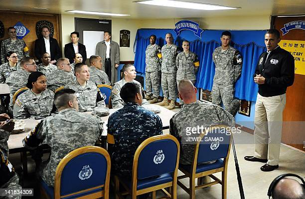 US President Barack Obama speaks to US soldiers at army base Camp Bonifas in Paju during a visit to the Demilitarized Zone on the border between...