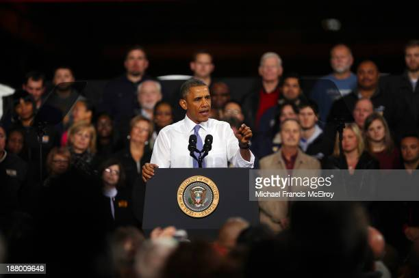 S President Barack Obama speaks to workers at ArcelorMittal the world's largest steel company November 14 2013 in Cleveland Ohio The President...