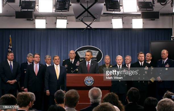 S President Barack Obama speaks while flanked by Secretary of Defense Leon Panetta Chairman of the Joint Chiefs of Staff Gen Martin Dempsey Chief of...