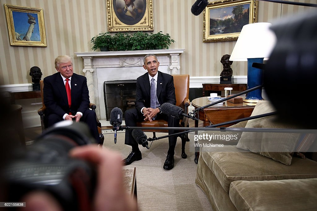 U.S. President Barack Obama speaks while meeting with President-elect Donald Trump (L) following a meeting in the Oval Office November 10, 2016 in Washington, DC. Trump is scheduled to meet with members of the Republican leadership in Congress later today on Capitol Hill.