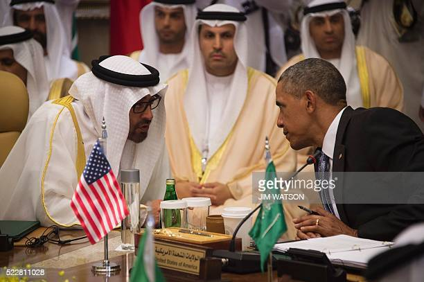 President Barack Obama speaks with Sheikh Mohammed bin Zayed alNahyan Crown Prince of Abu Dhabi during the USGulf Cooperation Council Summit in...
