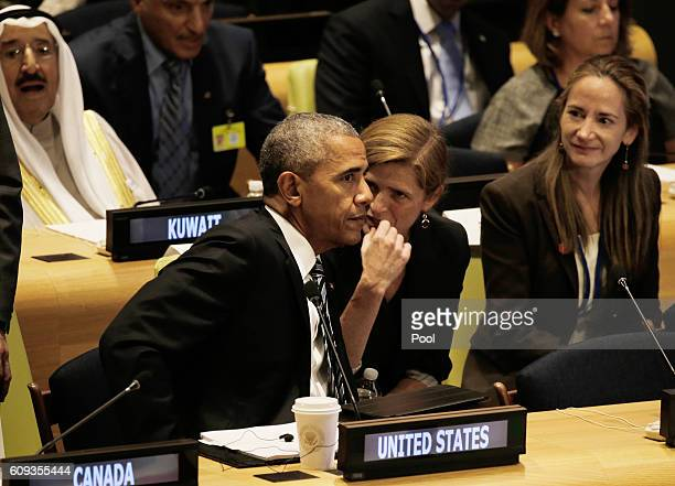 US President Barack Obama speaks with United States Ambassador to the United Nations Samantha Power at a Leaders Summit for Refugees during the...