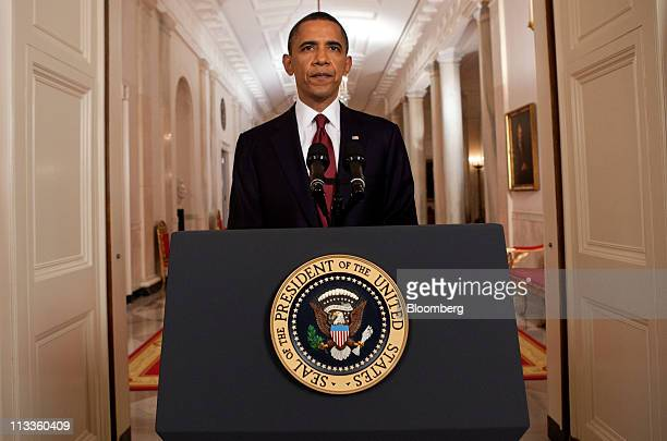 President Barack Obama stands after making a televised statement at the White House in Washington, D.C., U.S., on Monday, May 1, 2011. Al-Qaeda...