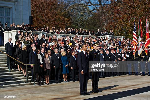 S President Barack Obama stands before the Tomb of the Unknowns with Major General Michael S Linnington during the Presidential WreathLaying Ceremony...