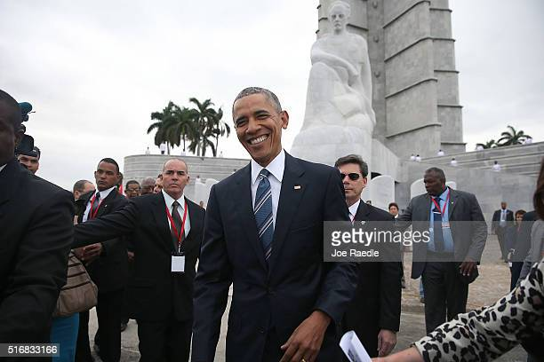 S President Barack Obama stands near the Jose Marti memorial after taking part in a wreath laying ceremony in Revolution Square on March 21 2016 in...