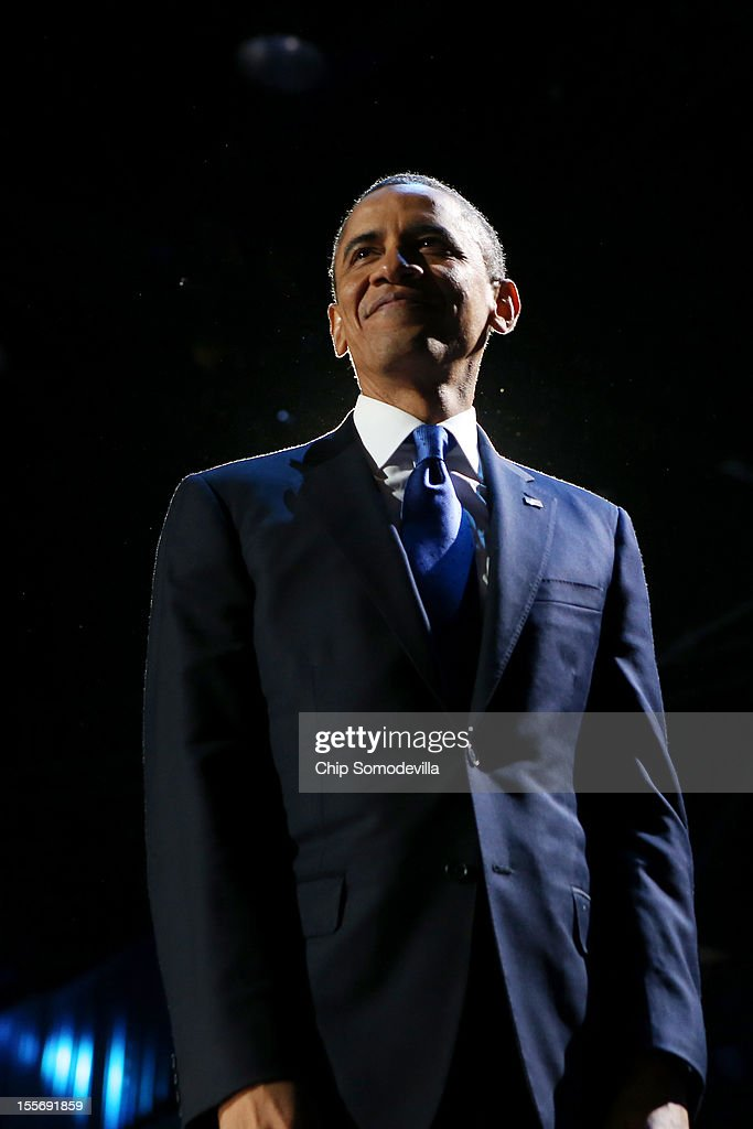 U.S. President Barack Obama stands on stage after his victory speech on election night at McCormick Place November 6, 2012 in Chicago, Illinois. Obama won reelection against Republican candidate, former Massachusetts Governor Mitt Romney.