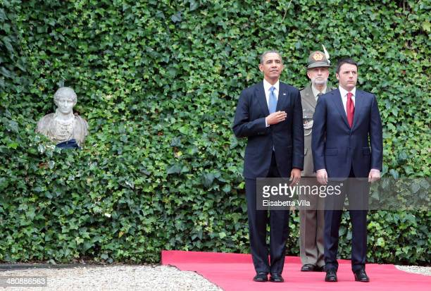 S President Barack Obama stands with Italian Premier Matteo Renzi at Villa Madama on March 27 2014 in Rome Italy The visit to Italy by President...