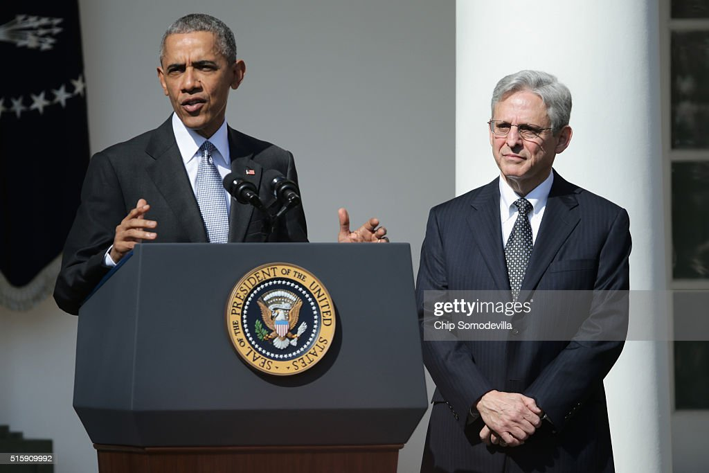 U.S. President Barack Obama (L) stands with Judge Merrick B. Garland, while nominating him to the US Supreme Court, in the Rose Garden at the White House, March 16, 2016 in Washington, DC. Garland currently serves as the chief judge on the United States Court of Appeals for the District of Columbia Circuit, and if confirmed by the US Senate, would replace Antonin Scalia who died suddenly last month.