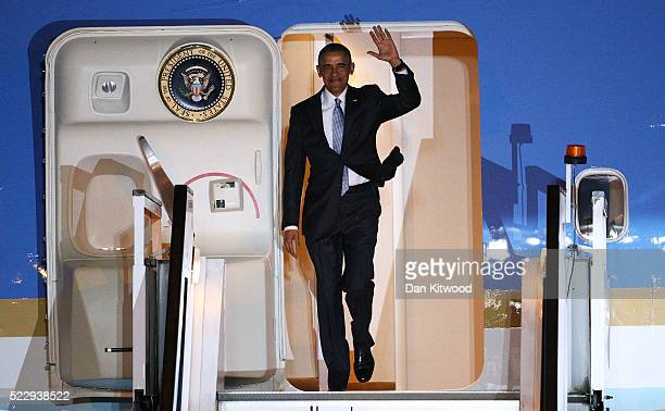 President Barack Obama steps off Air Force One upon arrival at Stansted Airport on April 21 2016 in London England The President is currently on a...
