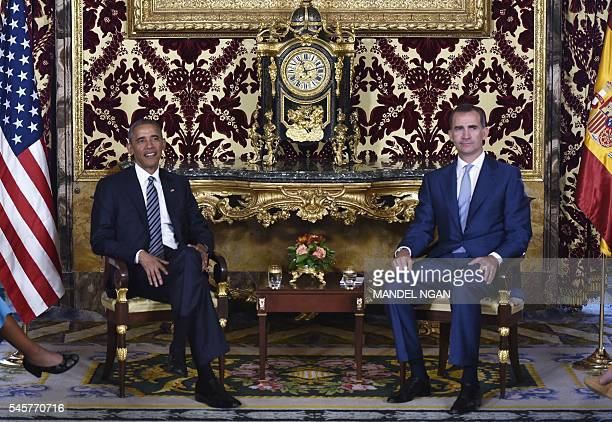 US President Barack Obama takes part in a bilateral meeting with Spain's King Felipe at the Palacio Real de Madrid in Madrid Spain on July 10 2016...