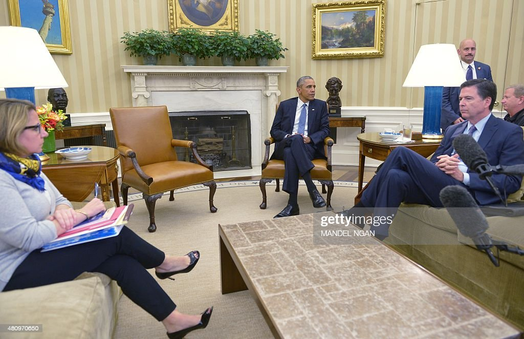 oval office july 2015. US President Barack Obama (C) Takes Part In A Meeting With Homeland  Security Advisor Lisa Monaco (L) And FBI Director James Comey (R) The Oval Office Of Oval Office July 2015