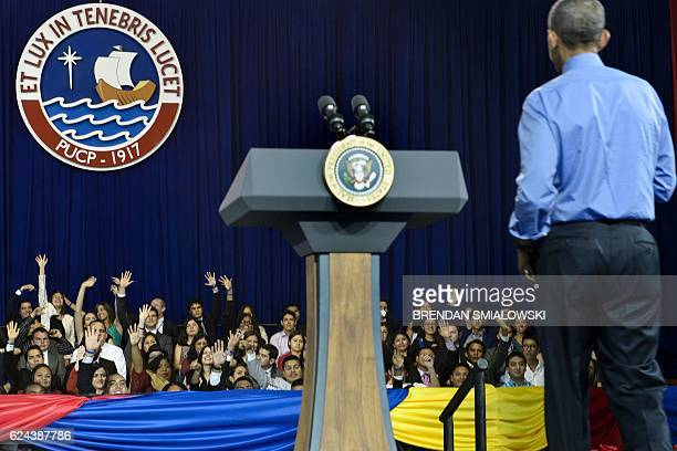 US President Barack Obama takes questions during a Young Leaders of the Americas Initiative town hall meeting at the Pontifical Catholic University...
