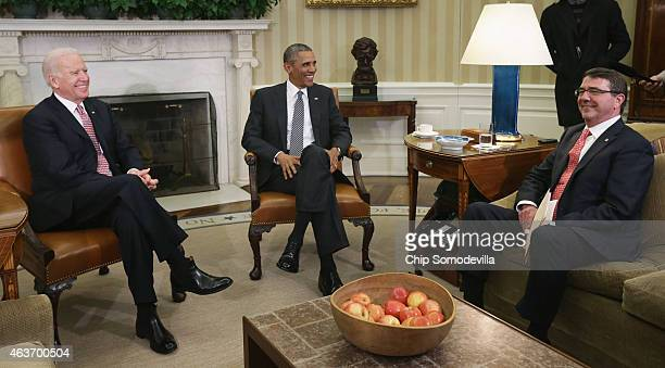 S President Barack Obama talks to reporters at the end of a meeting with Vice President Joe Biden and newly swornin Defense Secretary Ashton Carter...