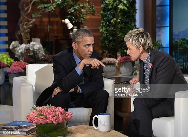 President Barack Obama talks to talk show host Ellen DeGeneres during a break in the taping of The Ellen DeGeneres show at Warner Brothers Studios in...