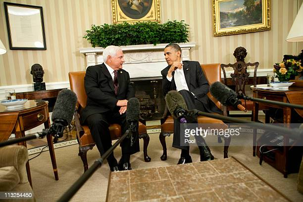 S President Barack Obama talks to the media after meeting with Panamanian President Ricardo Martinelli in the Oval Office at the White House on April...