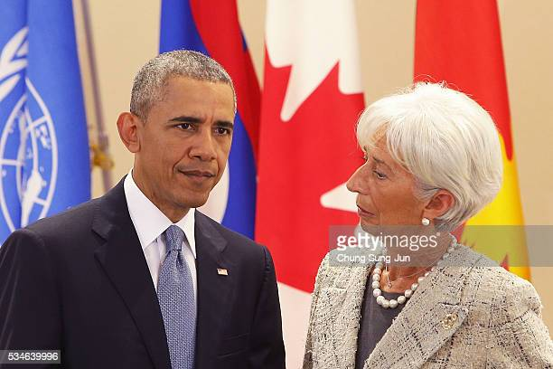 US President Barack Obama talks with International Monetary Fund Managing Director Christine Lagarde during a Outreach Session on May 27 2016 in...