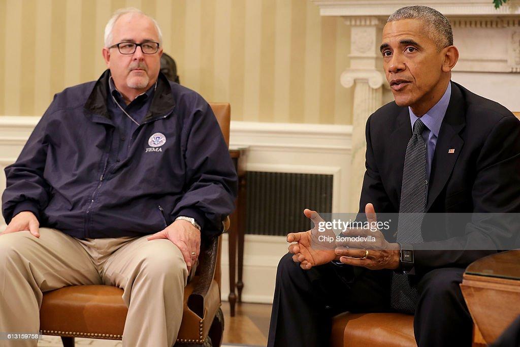 President Obama Makes Statement After Receiving Update On Hurricane Matthew : News Photo