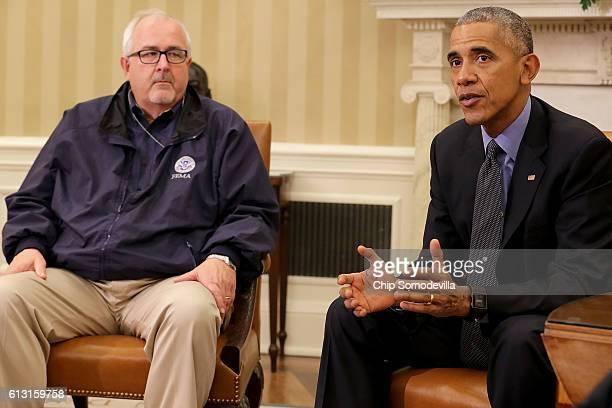 S President Barack Obama talks with reporters after meeting with Federal Emergency Managment Agency Administrator Craig Fugate and other homeland...