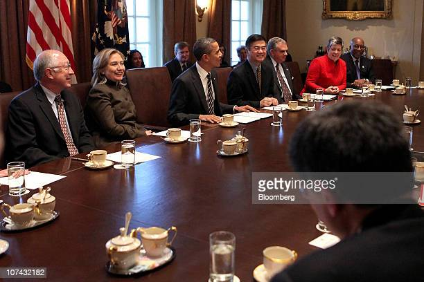 US President Barack Obama third left holds a cabinet meeting with Ken Salazar US secretary of the Interior from left Hillary Clinton US secretary of...