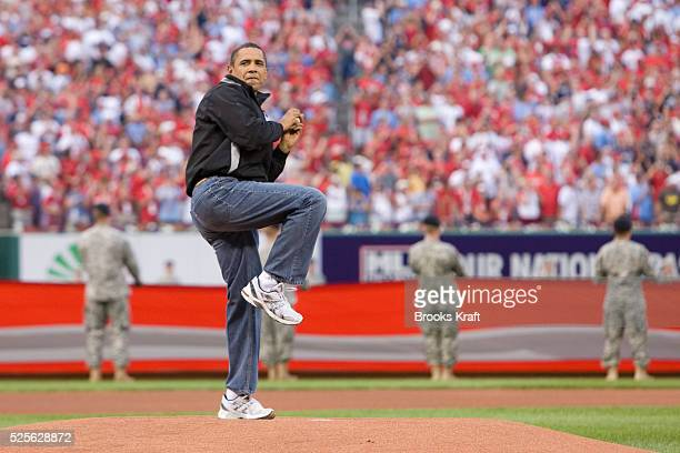 President Barack Obama throws out the ceremonial first pitch prior to Major League Baseball's All-Star game in St. Louis.