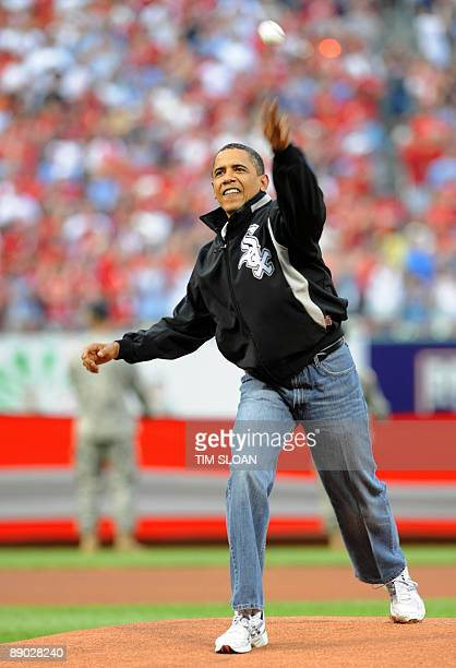 US President Barack Obama throws out the first pitch of the Major League Baseball AllStar Game on July 14 2009 at Busch Stadium in St Louis Missouri...