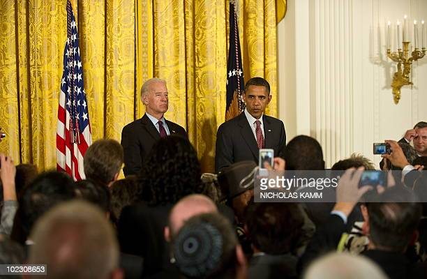 US President Barack Obama to addresses a Lesbian Gay Bisexual and Transgender Pride Month event in the East Room of the White House in Washington on...