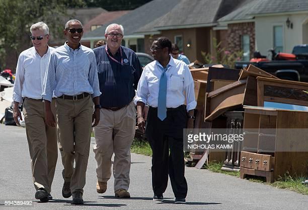 President Barack Obama tours a flood-affected area in Baton Rouge, Louisiana, on August 23, 2016 with US Senator Bill Cassidy , FEMA Administrator...