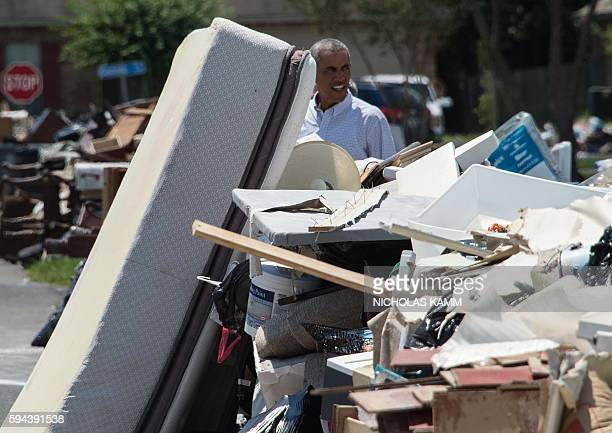 President Barack Obama tours a flood-affected area in Baton Rouge, Louisiana, on August 23, 2016. Fresh from a two-week vacation, President Barack...