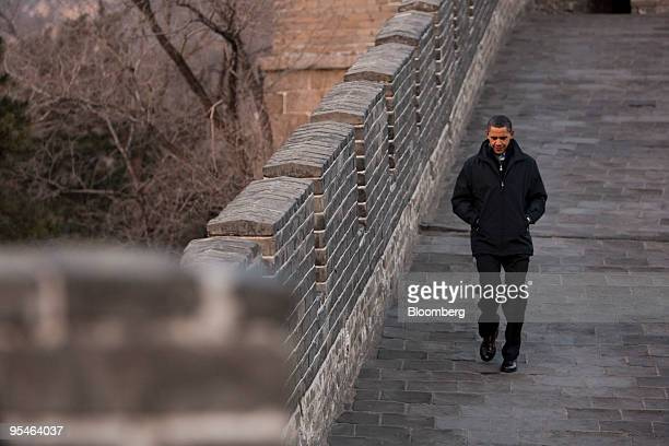 US President Barack Obama tours China's Great Wall in Beijing China on Wednesday Nov 18 2009 Obama and Chinese President Hu Jintao left their formal...
