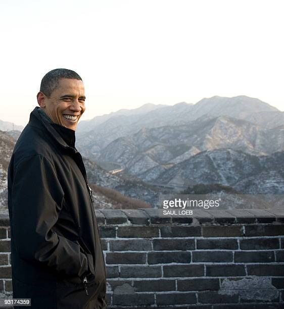 President Barack Obama tours the Great Wall of China in Badaling, outside of Beijing on November 18, 2009. The US president was to wrap up his maiden...