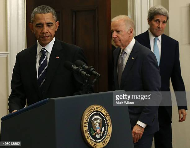 US President Barack Obama Vice President Joe Biden and Secretary of State John Kerry arrive for Obama's announcement to reject the Keystone XL...