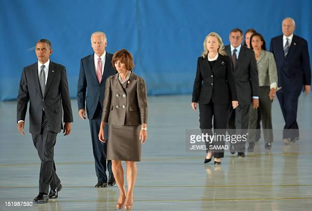 US President Barack Obama Vice President Joe Biden Secretary of State Hillary Clinton and Secretary of Defense Leon Panetta arrive along with others...