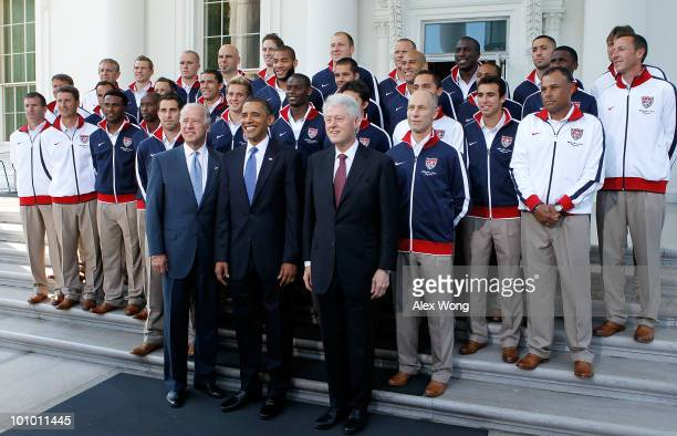 President Barack Obama , Vice President Joseph Biden , and former president Bill Clinton pose for photographers with U.S. World Cup Soccer Team at...