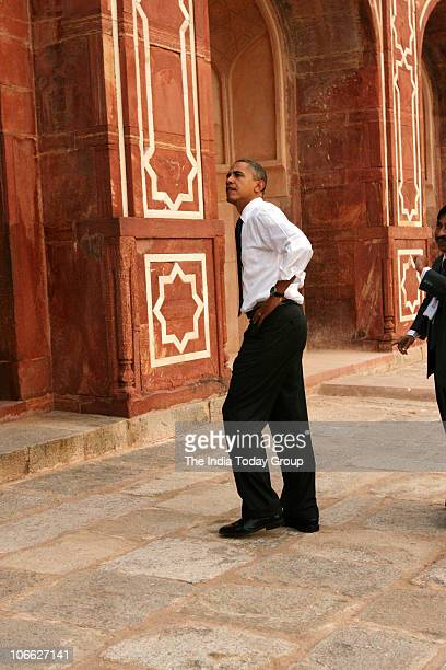 President Barack Obama visited the 450yearold Humayun's Tomb after their arrival from Mumbai at the Palam Airforce Station in New Delhi on Sunday...