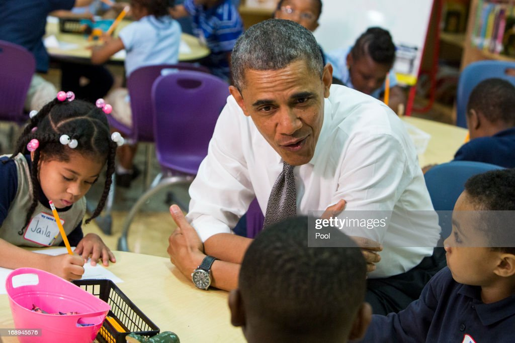 President Barack Obama visits a class at Moravia Park Elementary School on May 17, 2013 in Baltimore, Maryland. Obama's visit to Baltimore includes a visit to an elementary School, a manufacturing plant and a local community center.