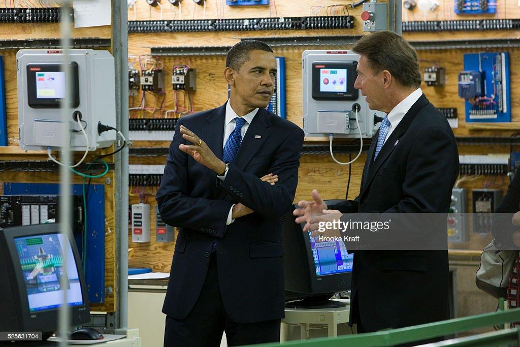 U S  President Barack Obama visits a classroom at Hudson