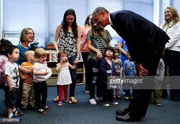 S President Barack Obama visits a preschoolers classroom after delivering remarks at Adas Israel Congregation in celebration of Jewish American...