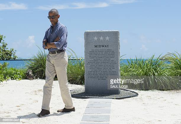 US President Barack Obama visits the Battle of Midway Navy Memorial during a tour of Midway Atoll in the Papahanaumokuakea Marine National Monument...