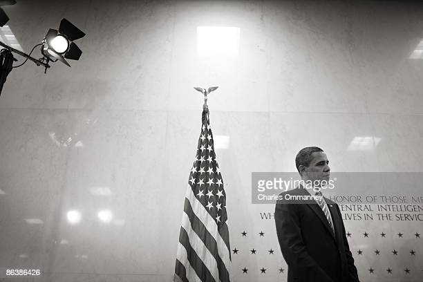 President Barack Obama visits the CIA headquarters and speaks to CIA employees during a visit to the Central Intelligence Agency headquarters on...