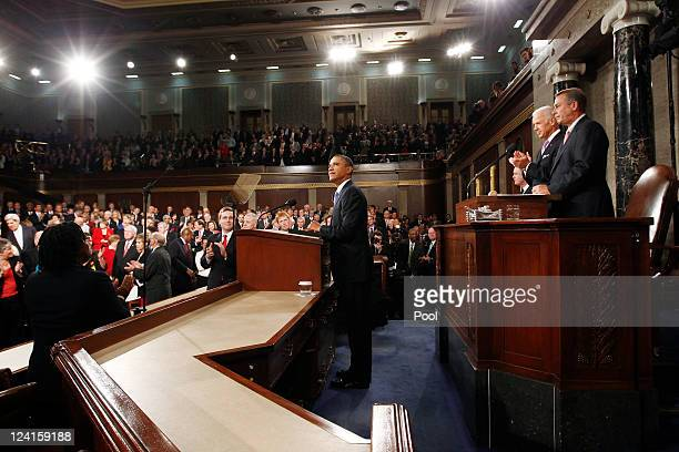 S President Barack Obama waits to address a Joint Session of Congress at the US Capitol September 8 2011 in Washington DC Obama addressed both houses...
